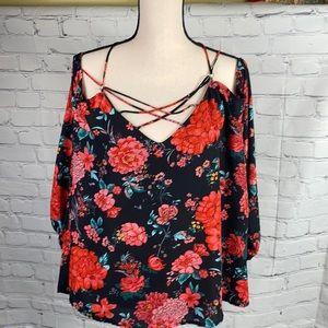 Red Floral Peonies Print Flowy Summer Top